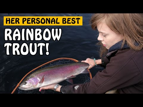 HER PERSONAL BEST RAINBOW TROUT! Second Step On The Fishing Highway | Fishing With Rod
