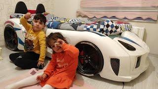 Ayşe Ebrar Furkanın Yarış Arabalı Yeni Odasını Görmeye Gitti. Eğlenceli Çocuk Videosu