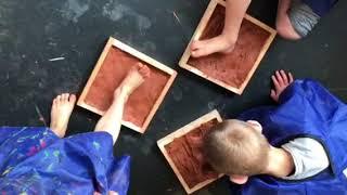 Ler i leg, eksperiment og krop i workshop på Museum Jorn - Børnehaven Tyttebærhuset februar 2018