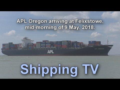 APL Oregon arrives at Felixstowe, 9 April 2018