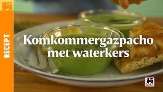 Komkommergazpacho met waterkers