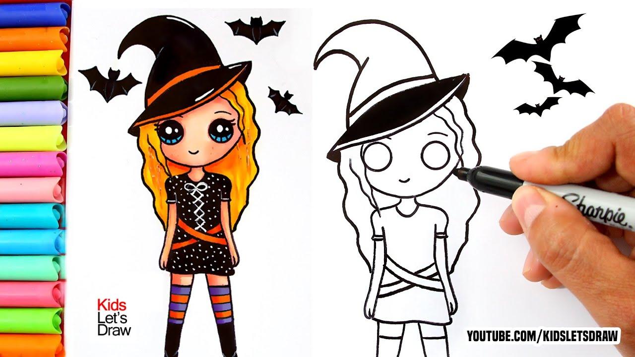 Aprende A Dibujar Una Chica Kawaii Con Disfraz De Bruja Dibujos De Halloween Youtube
