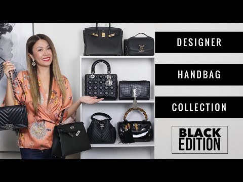 ENTIRE DESIGNER BAG COLLECTION - BLACK ED 🖤 + MOD SHOTS | Chanel, LV, Hermes, Gucci, Dior, YSL