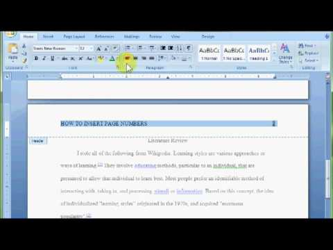 Word Insert Page Numbers and Change Header - YouTube
