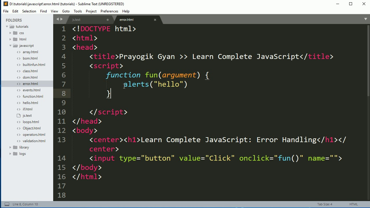 Complete JavaScript Tutorial: Error Handling(try, catch, throw, finally) in  Hindi Part19