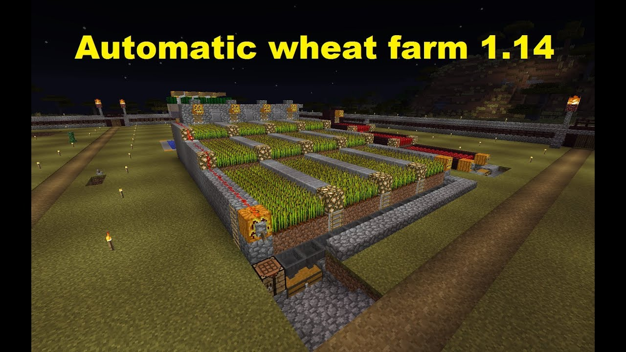 Minecraft 1 14 Automatic Simple Wheat Farm Youtube