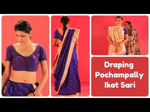How to wear a Pochampally sari in Gujarati Style?