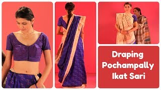 How To Drape Pochampally Ikat Sari In Gujarati Style