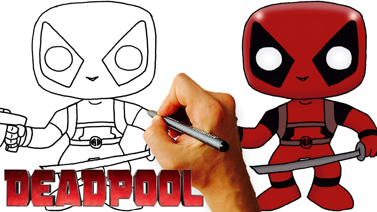 how to draw chibi deadpool step by step art lesson