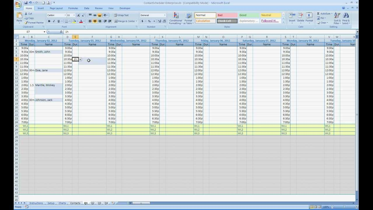 templates for scheduling