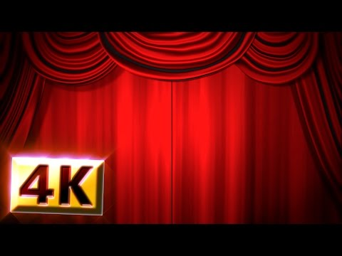 [Free Stock Footage / 4K]  Red Stage Curtain & Drapes Animation / Drop Curtain /  Theatre