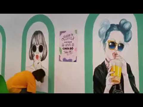 Vẽ tranh tường cô gái teen cho quán trà sữa, trà chanh tại Thanh Trì, Hà Nội – Wall painting T–Art H