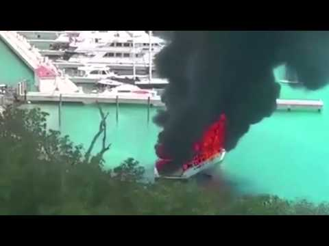 Luxury yacht in fire British Virgin Islands harbour