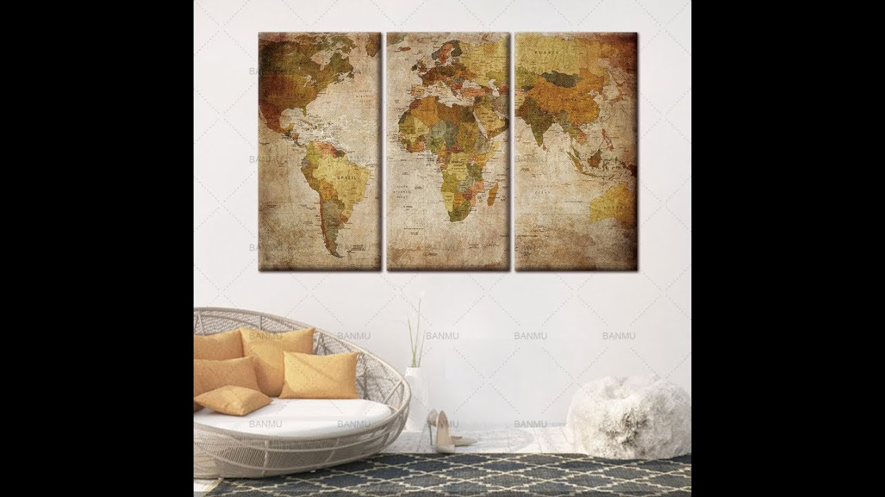 Panel Vintage World Map Canvas Wall Art Large Map Of The World - How to hang a large map