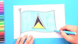 How to draw and color the National Flag of Saint Lucia