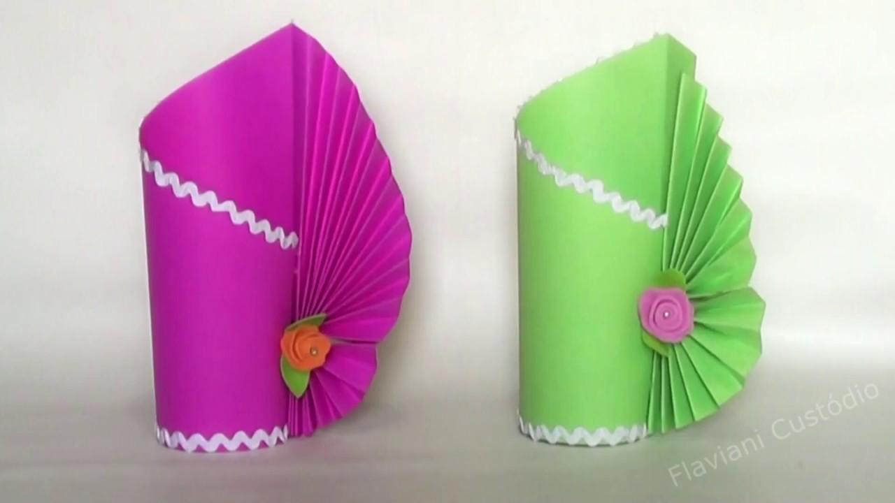 Como Fazer Um Vaso De Flores De Papel Color Set Ou Papel Simples Artesanato De Papel