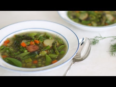 Spring Pea Soup with Potatoes and Asparagus- Healthy Appetite with Shira Bocar