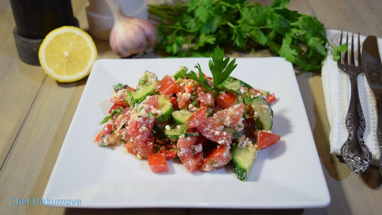 Овощной салат с творогом / Vegetable salad with cheese