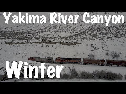 Yakima, Wa River Canyon SR-821-DJI Mavic Pro Video-River-Hills-Ice-Snow