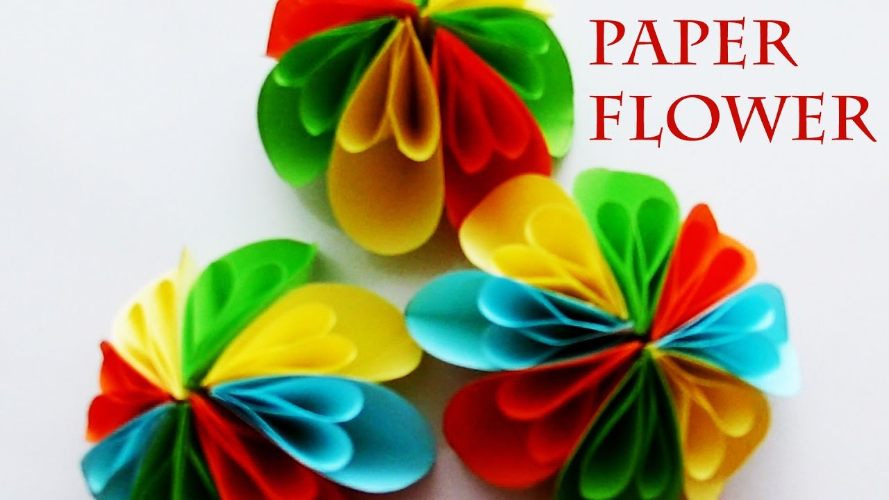 How To Make A Paper Flower Flower Crafts For Children With Elements