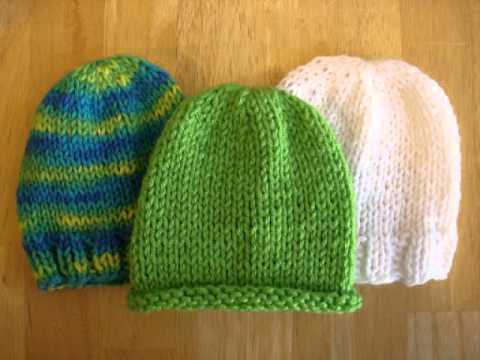 cc41f7c9654 Knit Baby Hat With Straight Needles - YouTube