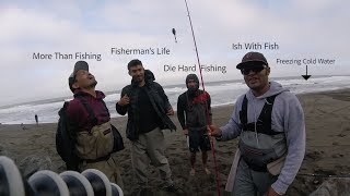 Three CRAZY FISHERMEN JUMP in the PACIFIC OCEAN - Ultimate Bay Area Surf Fishing Challenge