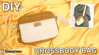 DIY Corduroy Crossbody Bag | cute messenger bag Sewing &Tutorial [sewingtimes]