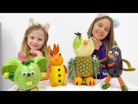 Nastya and her friend make animal figurines from vegetables and fruits