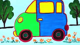 Skip To My Lou || Car Drawing and Coloring for Kids || Nursery Rhymes || Хэрхэн машин зурах вэ