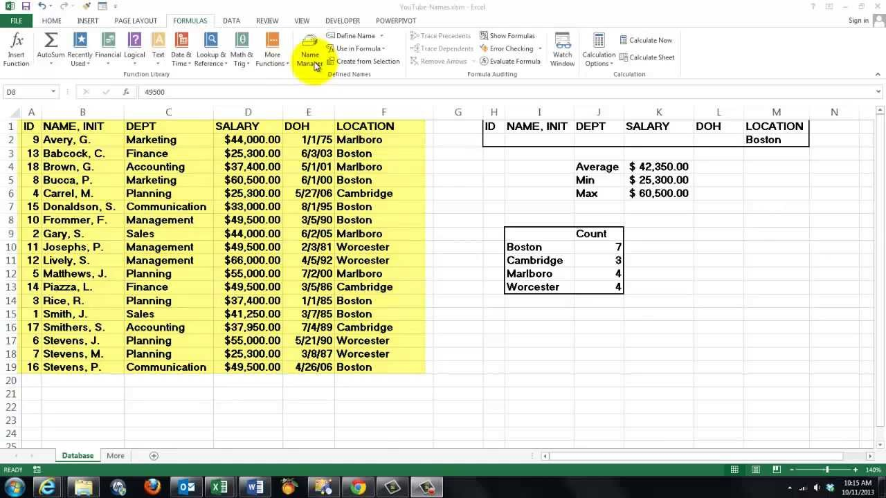 Updating Range Names with Excel VBA