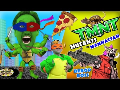 Michelangelo plays TMNT Mutants in Manhattan! (FGTEEV Teenage Mutant Ninja Turtles BEBOP Boss Fight)