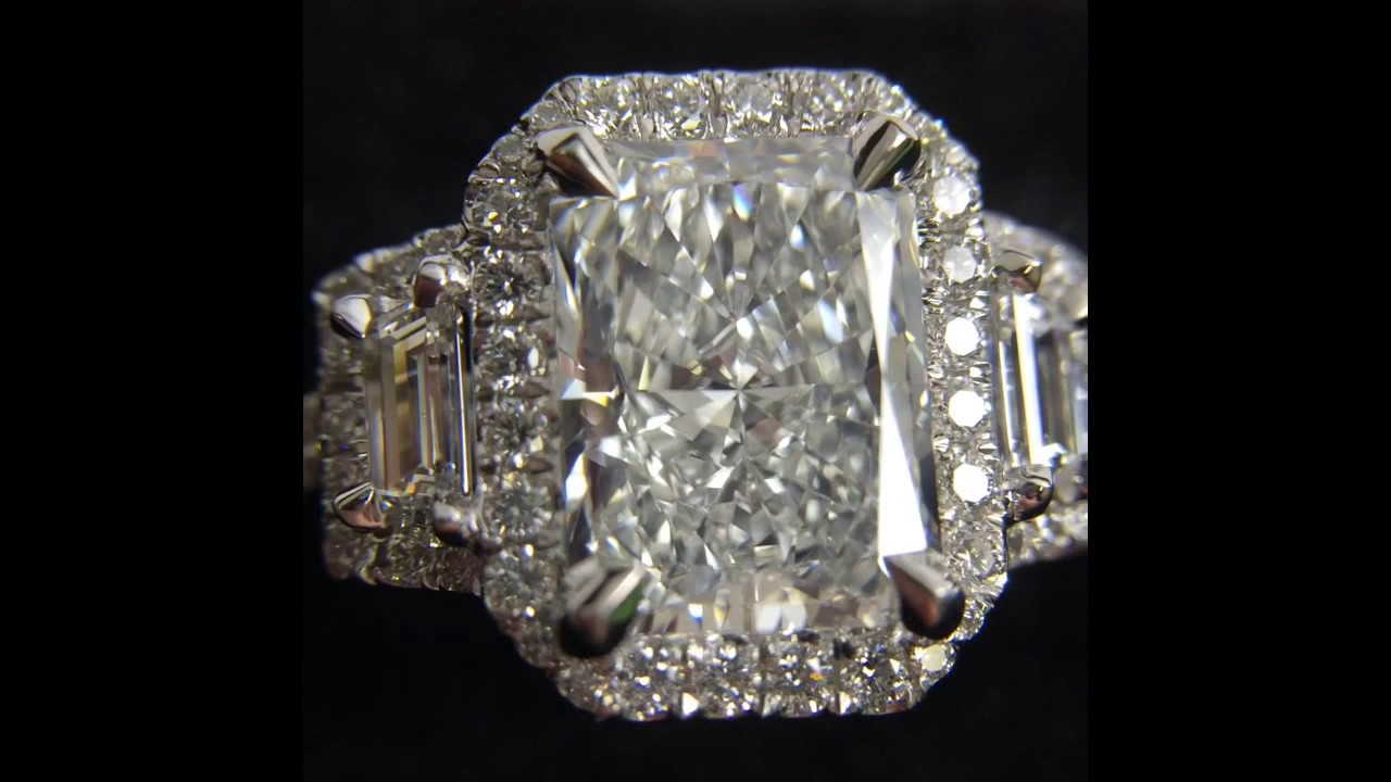3 Carat Radiant Cut Diamond 3 Stone Halo Engagement Ring