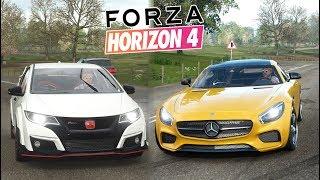 ZWYKŁY CZY PRZEROBIONY? Forza Horizon 4 - AMG + CIVIC - GRAMY NA PADZIE!