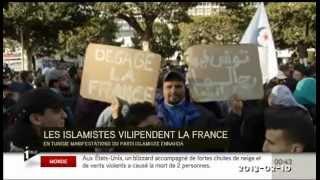 Tunisie - Manif de Ennahda contre la gauche, contre les propos de M. Valls et contre la France - 2