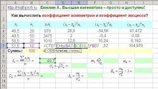 Как вычислить коэффициент асимметрии и коэффициент эксцесса?