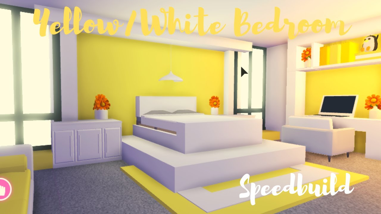Cute Roblox Bed Yellow White Bedroom Speedbuild Adopt Me Roblox Youtube
