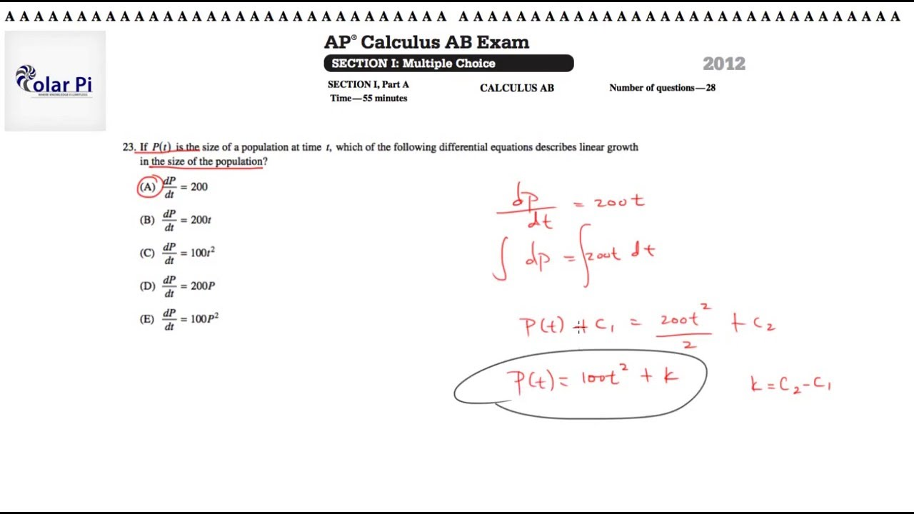 AP Calculus BC Multiple Choice 2012 Exam (solutions