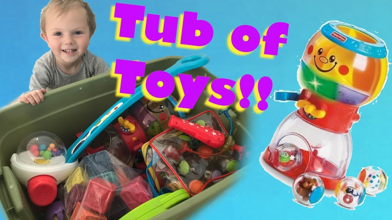 TODDLER OPENS & PLAYS WITH A HUGE TUB OF TOYS! FISHER PRICE GUMBALL ...