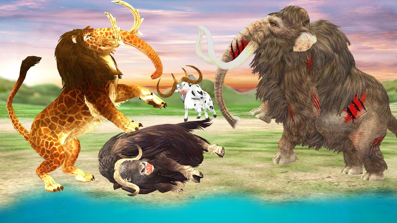 Woolly Mammoth Vs Monster Lion Attack Wild Yak Save Giant Bulls and Cow Animal Revolt Epic Battle
