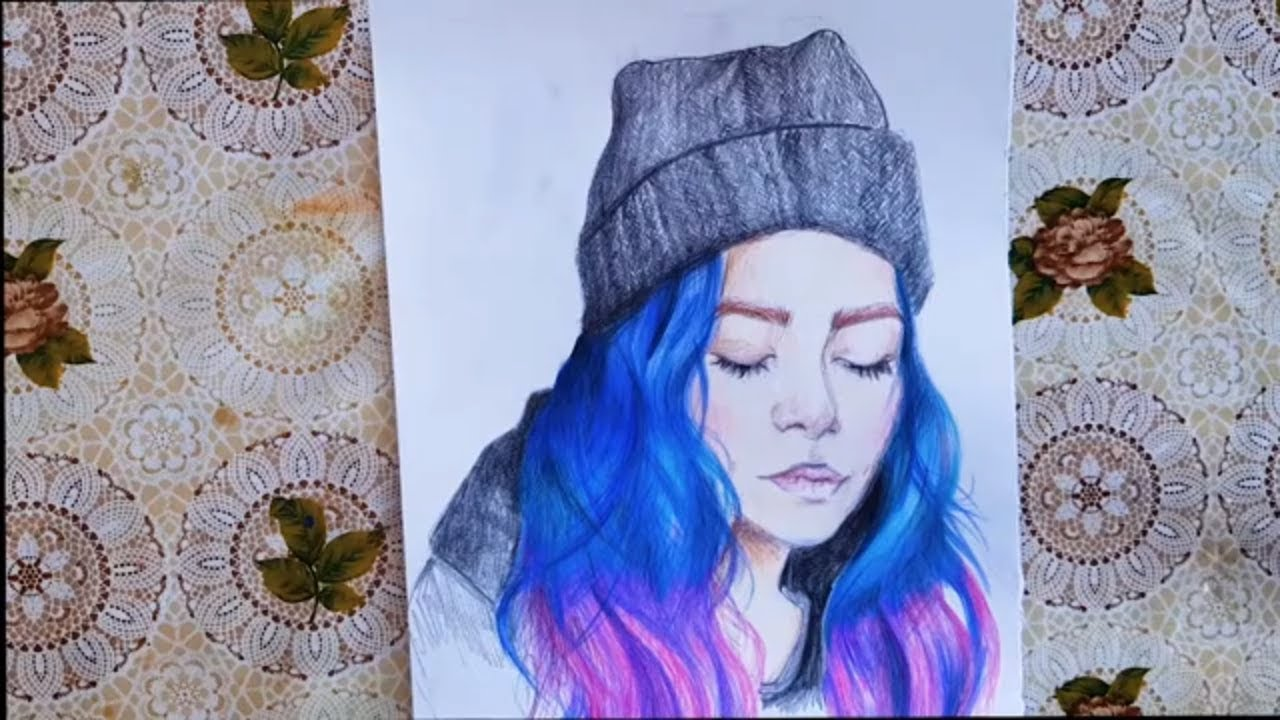 Drawing Colorful Hair Drawing Girl With Colored Hair Drawing Colored Pencils