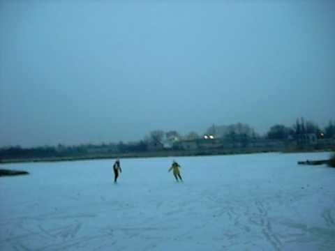 Ice skating on the lake near LCC International University, Klaipeda, Lithuania, European Union 2009 02 05 5 p m  part 2