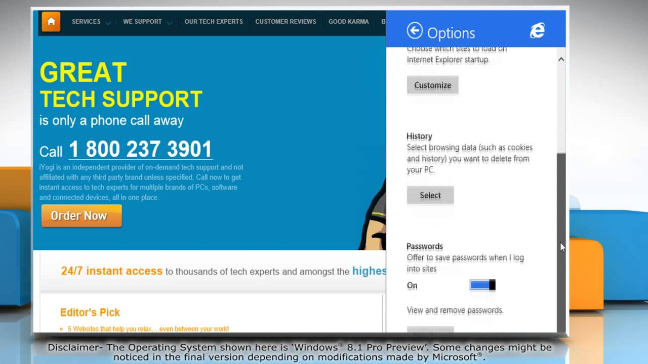 How To Clear Internet Explorer� Browsing History, Cache And Cookies In  Windows� 81 Pro Preview