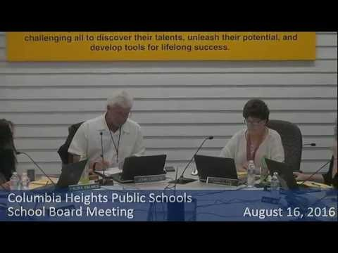 Columbia Heights School Board Meeting August 16, 2016
