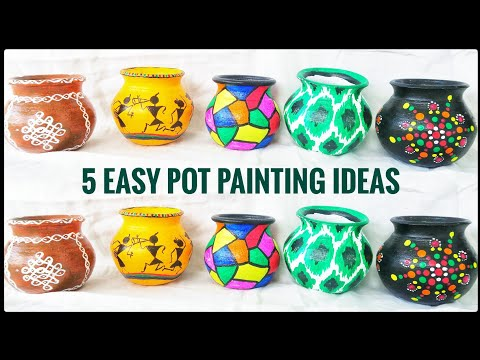 5 Easy  pot painting ideas for beginners | Pot decoration ideas | Step by step tutorial