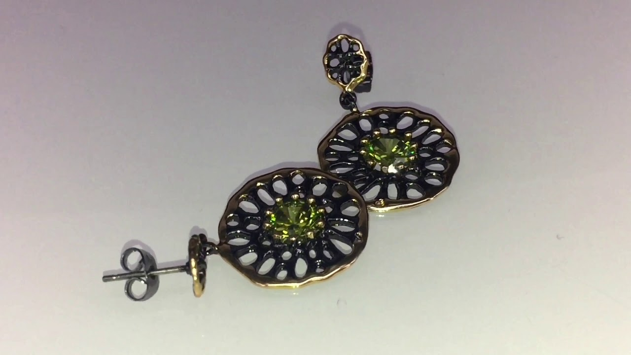 Dreamcarnival 1989 Jewel Earrings For Women Dangle Hollow Out Olivine Yellow Color Youtube