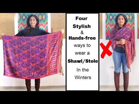 4 Different Handsfree Ways to Wear Shawl/ Stole with Western Outfits   Different Ways to Wear Shawl