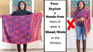 4 Different Handsfree Ways to Wear Shawl/ Stole with Western Outfits | Different Ways to Wear Shawl