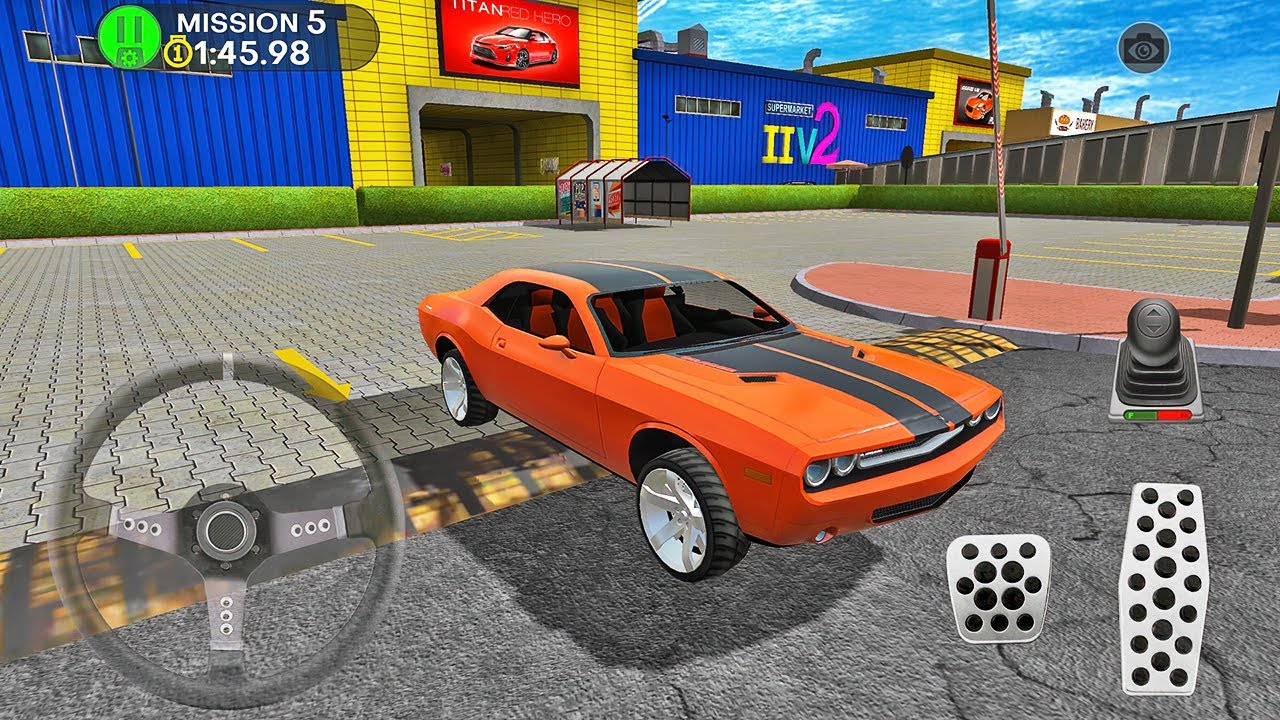 Dodge Challenger Car Driving in Shopping Mall Parking Lot - Android Gameplay