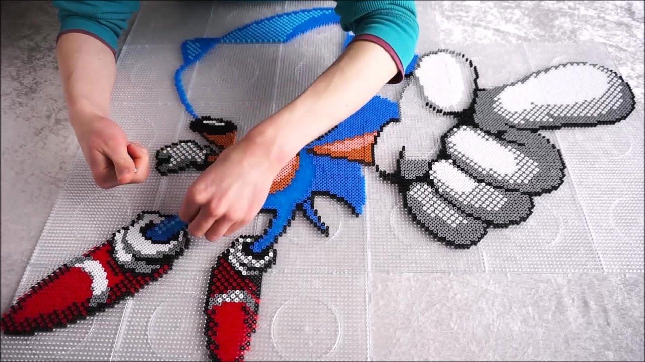 Sonic The Hedgehog Perler Beads Pixel Art Youtube