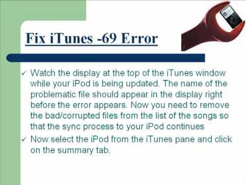 Fix iTunes -69 Sync Errors!